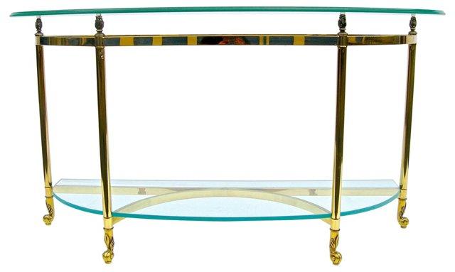 Italian-Style Brass  & Glass Console