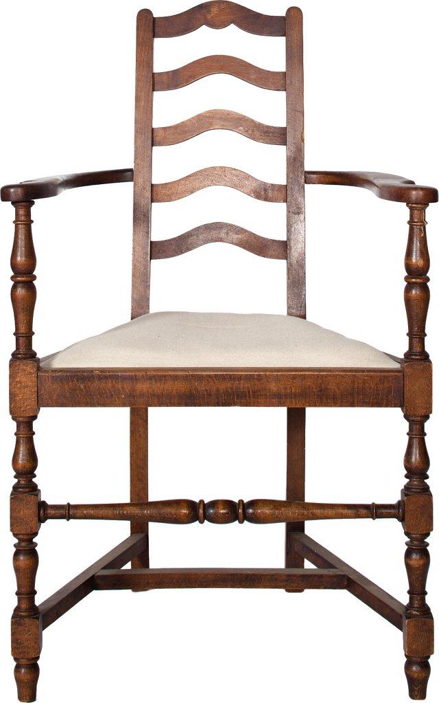 Walnut Armchair w/ Linen Seat