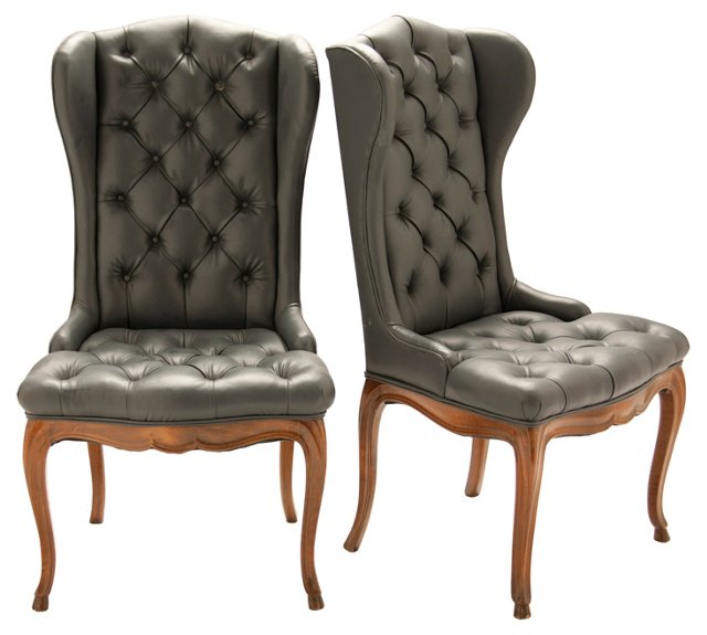 Navy Wing Chairs, Pair