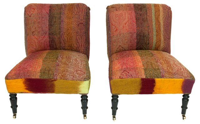 French Paisley Chauffeuses, Pair