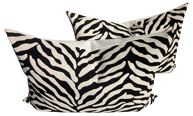Zebra-Print Pillows, Pair