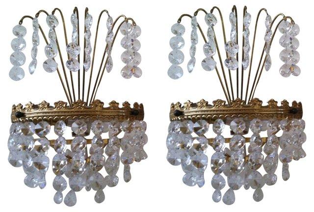 Gustavian-Style Chandelier Sconces, Pair
