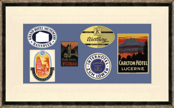 20th-C. Framed    Luggage Labels