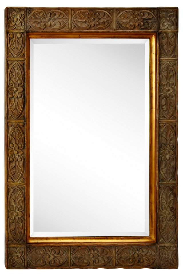 Balinese Carved Wood Mirror