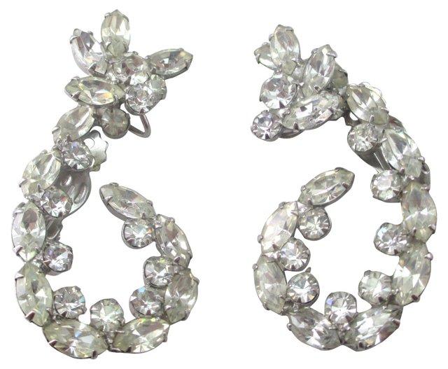 Rhinestone Curl Clip Back Earrings