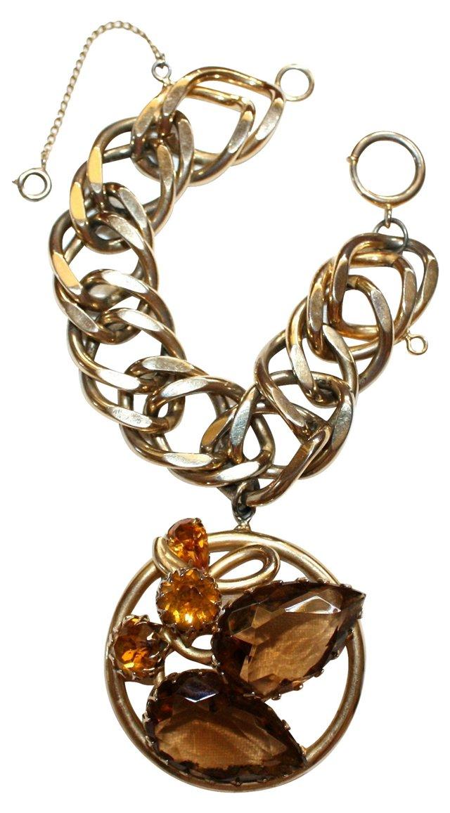 1950s Bracelet w/ Jeweled Charm