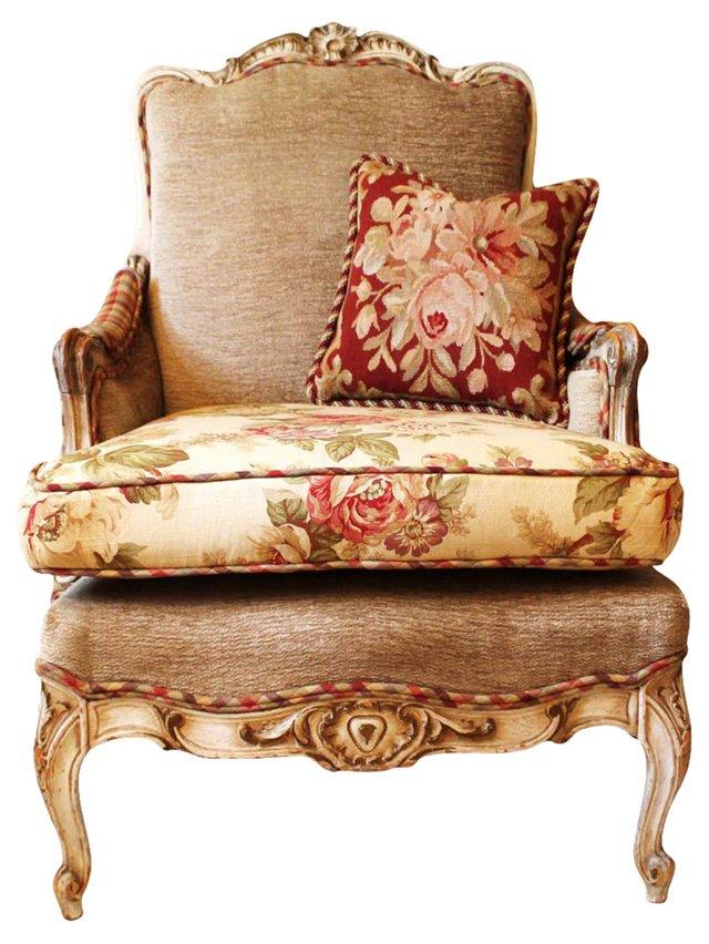 Louis XV-Style Bergère & Pillow