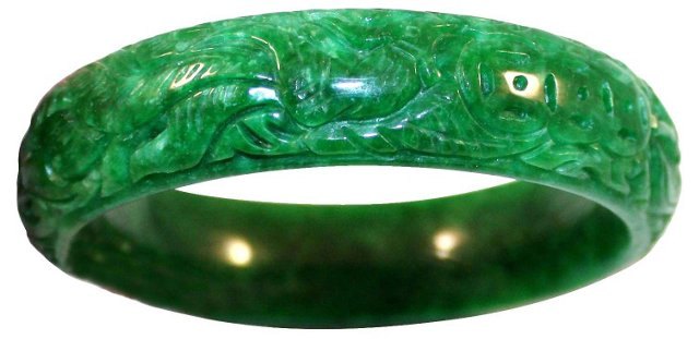Carved Serpentine Stone Bangle