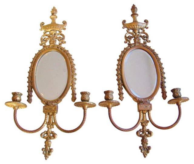 1930s French Brass Candle Sconces, Pair