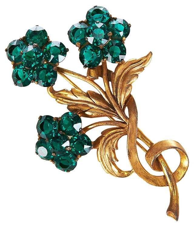 Gold-Plated Faux-Emerald Glass Pin