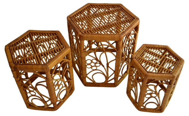 Rattan Nesting Tables, Set of 3