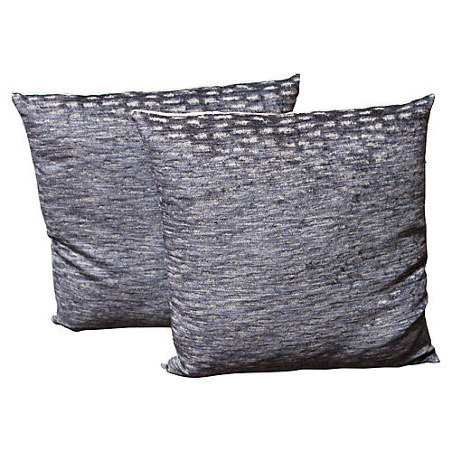 Velvet Patterned Pillows, Pair
