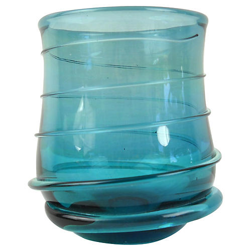 Cerulean Blue Swirl Art Glass Vase