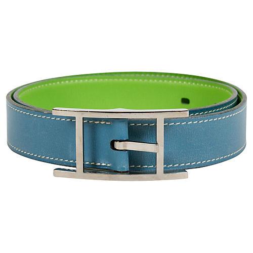 Hermès Blue & Green Reversible Belt