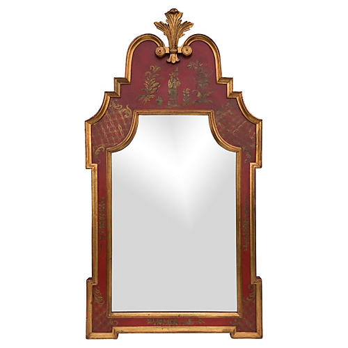 Large Italian Red Chinoiserie Mirror