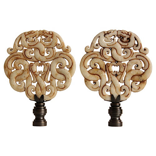 Asian Stone Scroll Lamp Finials, Pair