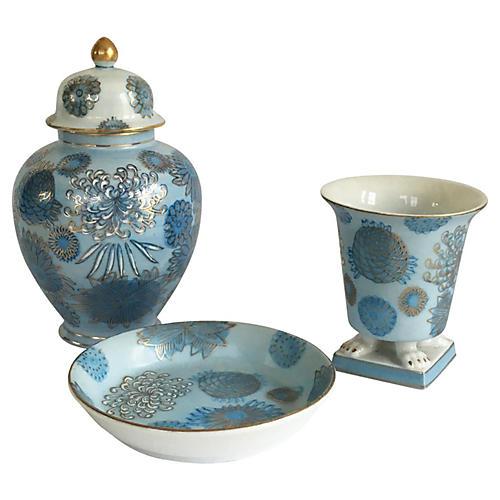 Blue Chinoiserie Vanity Set, 3 Pcs