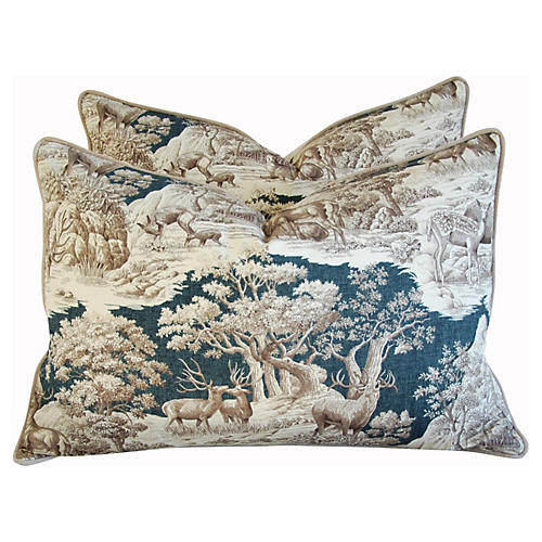 Highland Toile Deer & Velvet Pillows, Pr