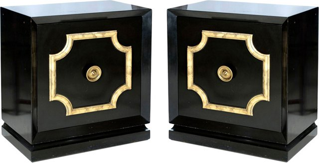 Black Lacquer Cabinets, Pair