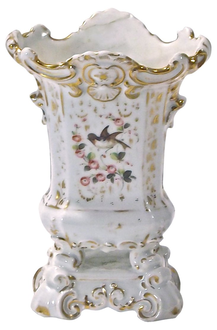 Antique Paris Porcelain Floral Vase