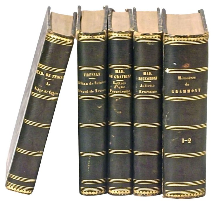 Antique French Leather Books, 5 Vols