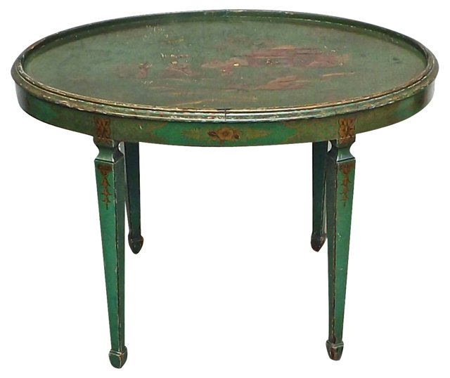 19th-C. Chinoiserie Hand-Painted Table
