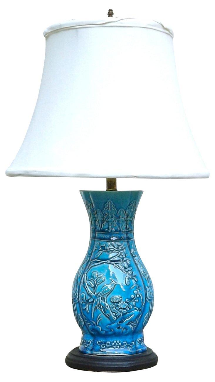 Blue Majolica  Bird & Floral Lamp