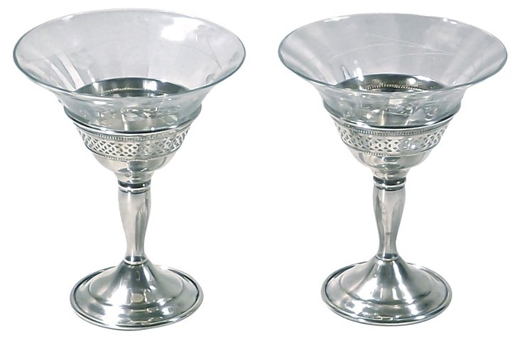 Cartier Sterling & Crystal Glasses, Pair