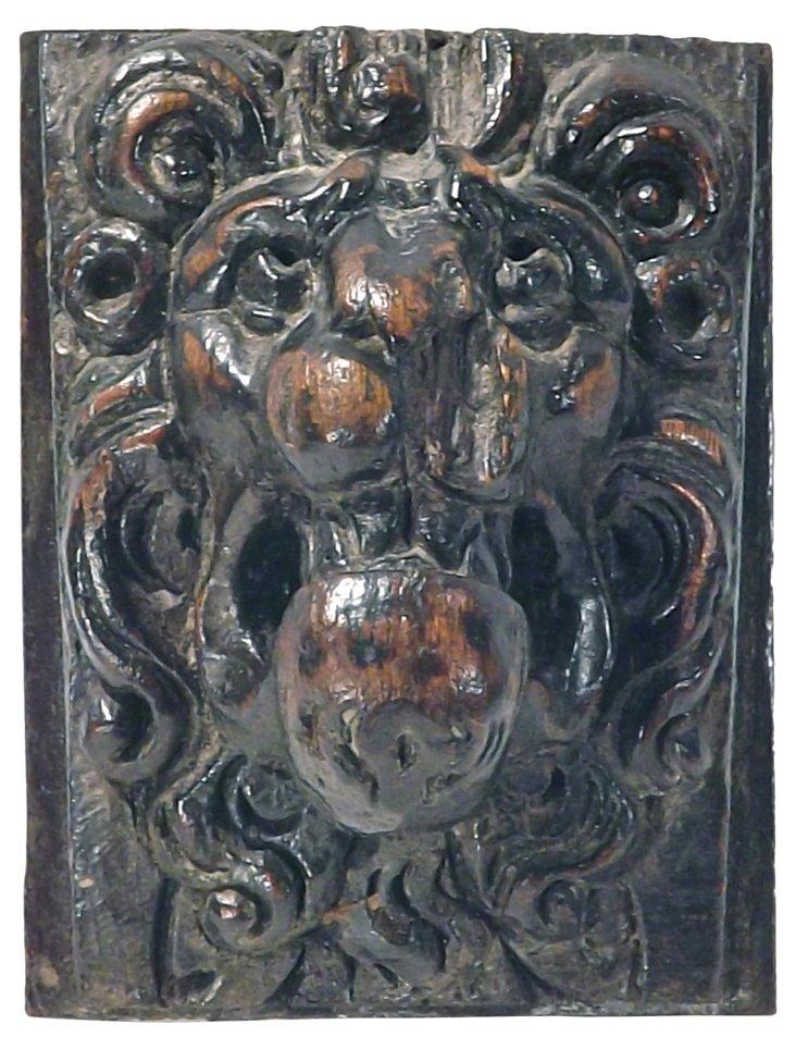 Antique Wood Hand-Carved Lion Corbel