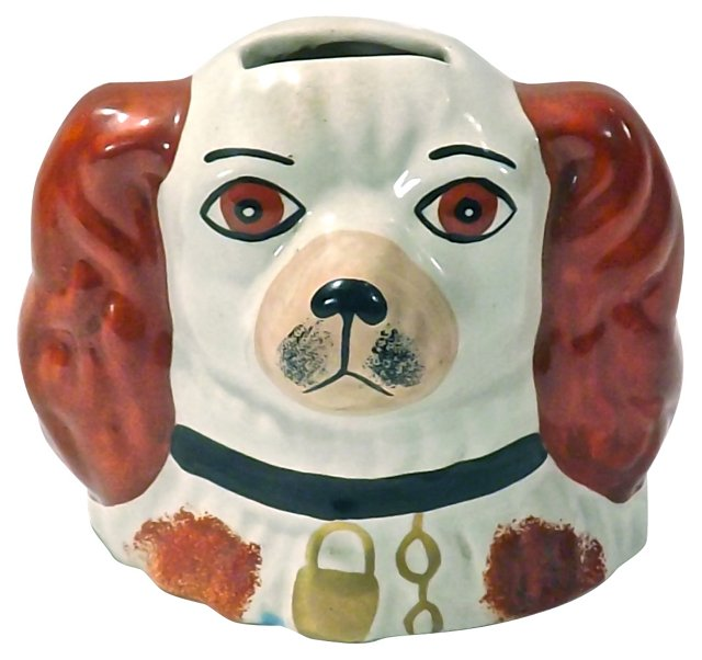 Antique Staffordshire Dog Coin Bank