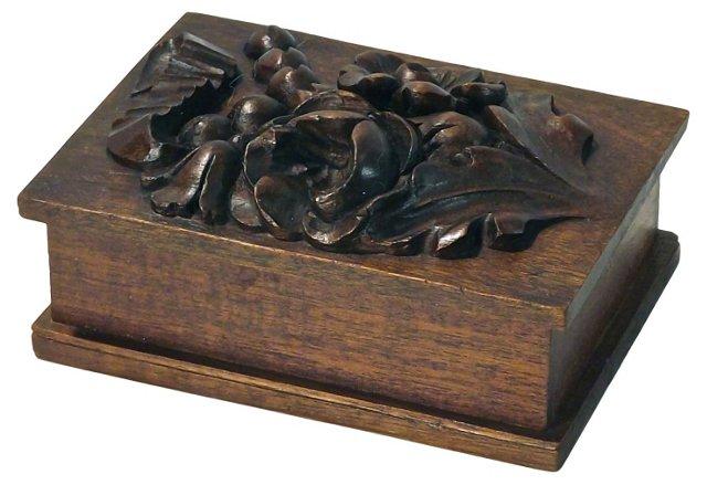 Antique Black Forest Floral & Ribbon Box