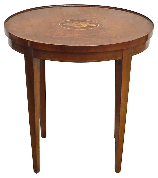 Antique Inlaid Wood & Shell Side Table