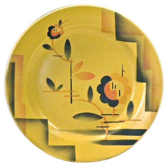 Art Deco Geometric Floral Plate