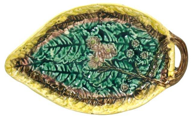 Antique English Majolica Leaf Tray
