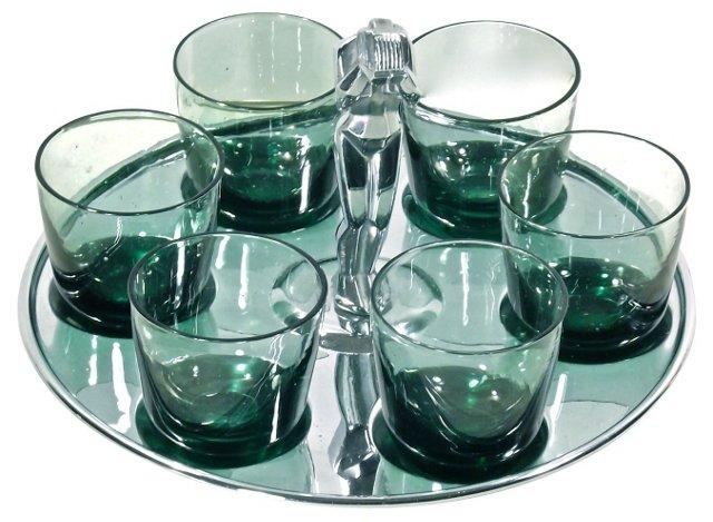 Art Deco Tray & 6 Shot Glasses