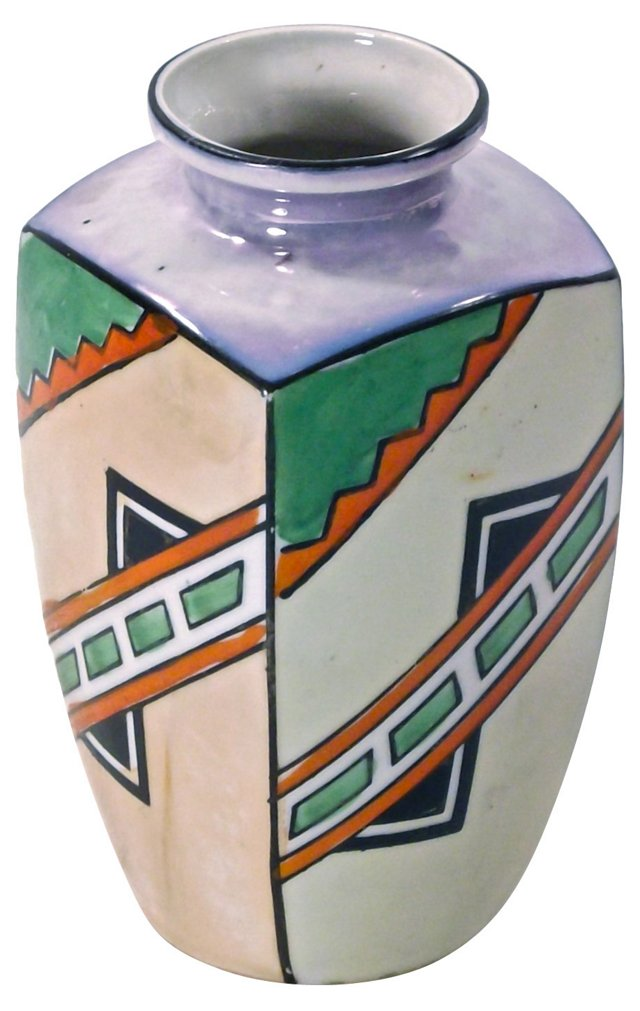 Art Deco Hand-Painted  Geometric Vase