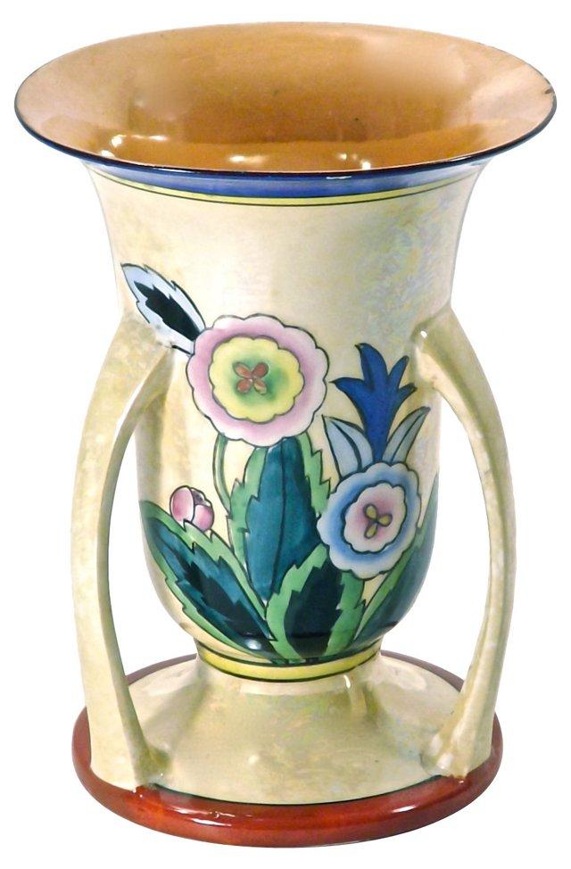 Art Deco Hand-Painted Floral Vase