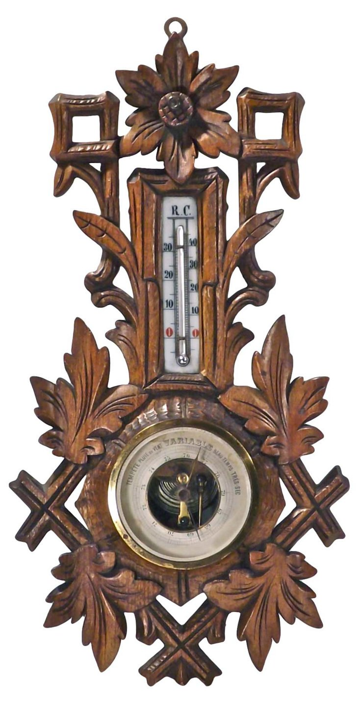 Antique French Hand-Carved Barometer