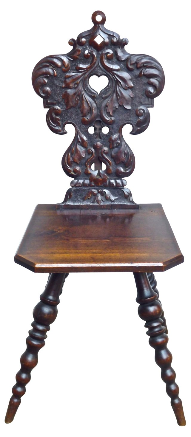 19th-C. English Gothic Hall Chair