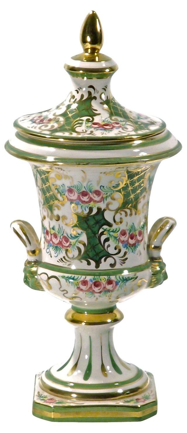 Antique Ceramic Italian Floral Urn