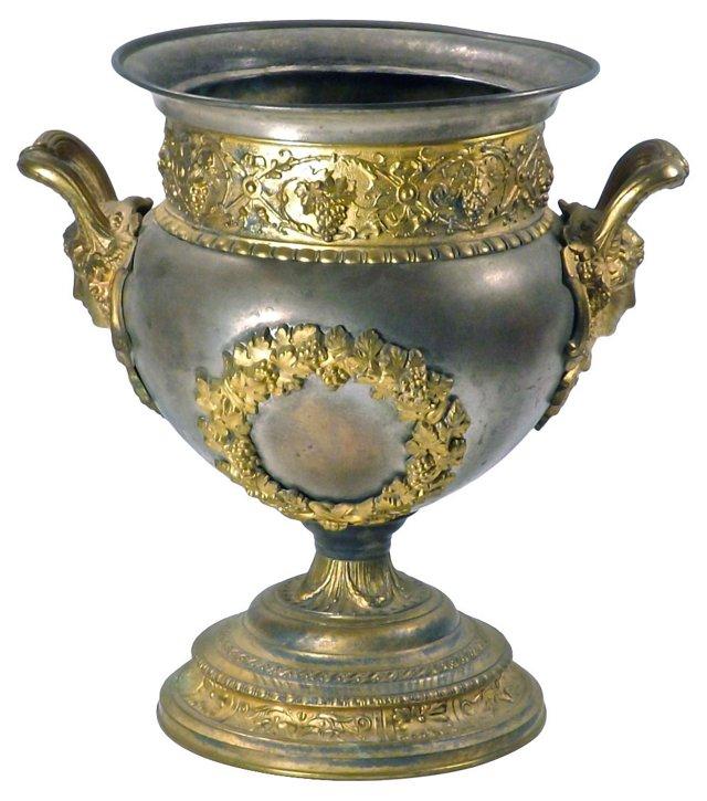 Antique Brass & Steel Urn Cachepot
