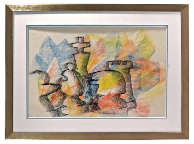 Chess Figurine Abstract Pastel Drawing