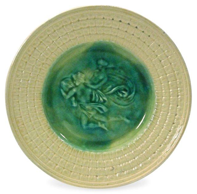 Antique Apollo & Daphne Majolica Plate