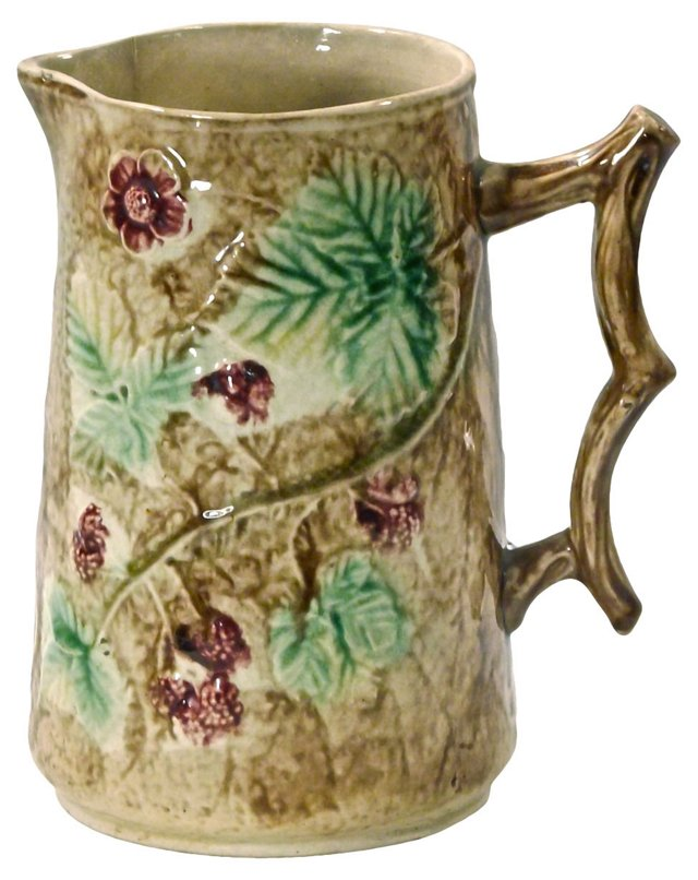 Antique  Majolica Leaf Pitcher