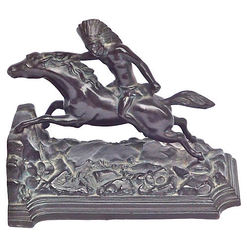Bronze Native American Horseman Bookend