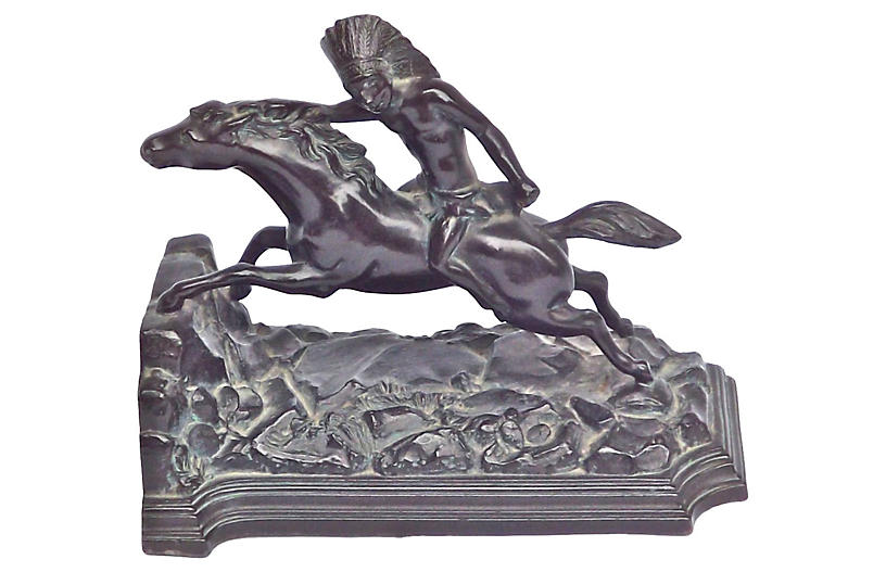 Bronze Native American Horseman Bookend