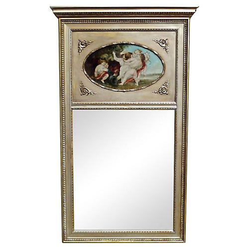 Cherub Oil Painting Trumeau Mirror