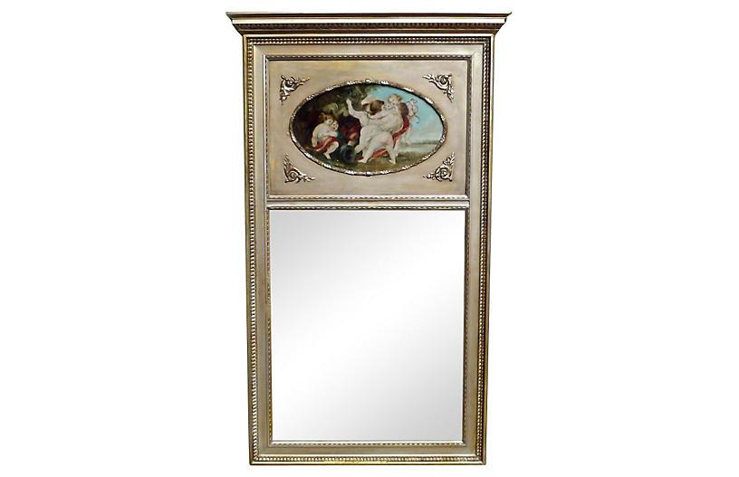 Cherub Oil Painting Trumeau Mirror