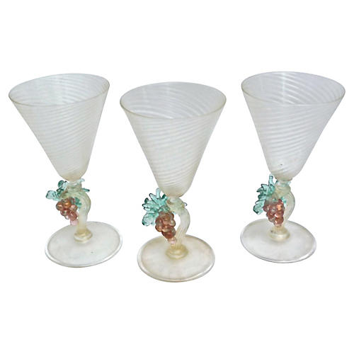 Murano Grape Wineglasses, Set of 3