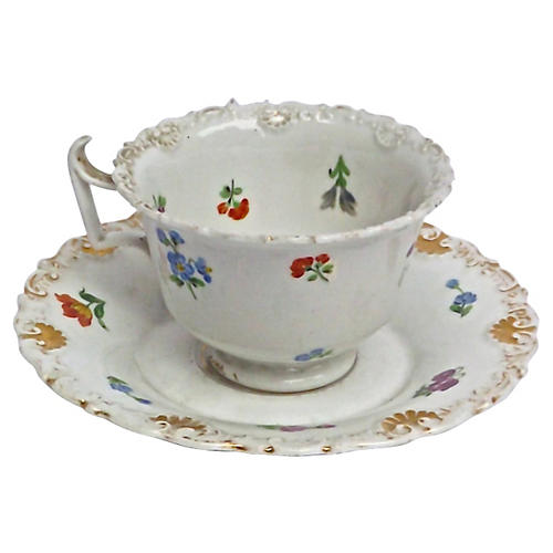 Porcelain Meissen Floral Cup & Saucer